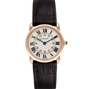 Cartier Silver 18K Rose Gold Ronde Louis W6800151 Men's Wristwatch 29 MM