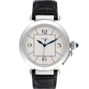 Cartier Silver Stainless Steel Pasha W3107255 Men's Wristwatch 42 MM