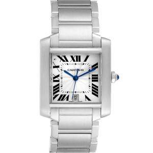 Cartier Silver Stainless Steel Tank Francaise utomatic 51002Q3 Men's Wristwatch 28 x 32 MM