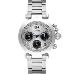 Cartier Silver Stainless Steel Pasha Chronograph W31048M7 Men's Wristwatch 35 MM