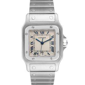 Cartier Silver Stainless Steel Santos Galbee Women's Wristwatch 29 MM