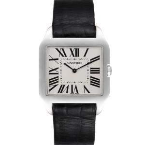 Cartier Silver 18k White Gold Santos Dumont W2007051 Men's Wristwatch 29 x 35 MM
