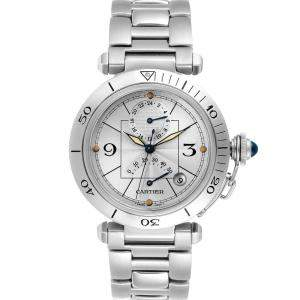 Cartier Silver Stainless Steel Pasha Power Reserve GMT Automatic W31037H3 Men's Wristwatch 38 MM