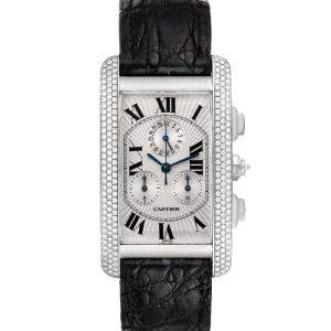 Cartier Silver Diamonds 18k White Gold Tank Americaine Chronograph 2339 Men's Wristwatch 26 x 45 MM