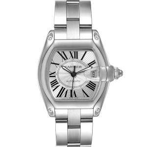 Cartier Silver Stainless Steel Roadster W62025V3 Men's Wristwatch 38 x 43 MM