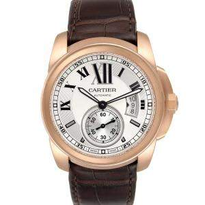 Cartier Silver 18K Rose Gold Calibre Automatic W7100009 Men's Wristwatch 42 MM