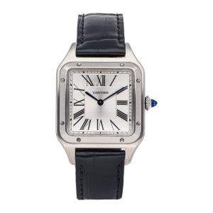 Cartier Silver Stainless Steel Santos Dumont WSSA0022 Men's Wristwatch 43.5 x 31 MM