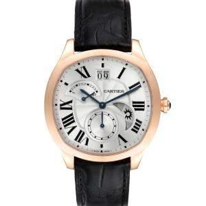 Cartier Silver 18K Rose Gold Drive Retrograde Chronograph WGNM0005 Men's Wristwatch 40 MM