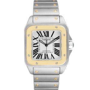 Cartier Silver 18K Yellow Gold And Stainless Steel Santos 100 W200728G Men's Wristwatch 38 MM
