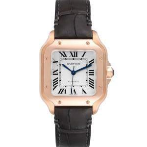 Cartier Silver 18K Rose Gold Santos WGSA0012 Men's Wristwatch 35 MM