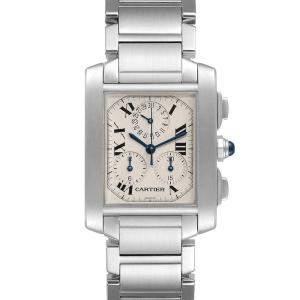 Cartier White Stainless Steel Tank Francaise Chronoflex Chronograph W51001Q3 Men's Wristwatch 37 x 28 MM