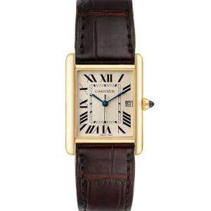 Cartier Silver 18k Yellow Gold Tank Louis W1529756 Men's Wristwatch 25 x 33 MM