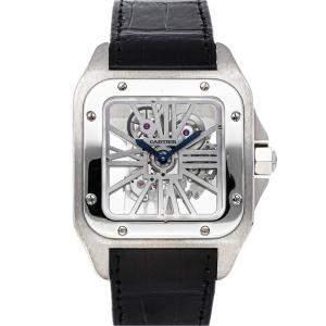 Cartier Silver Palladium Santos 100 W2020018 Men's Wristwatch 41.5 MM