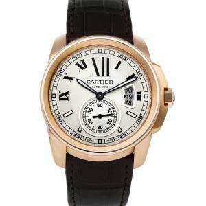 Cartier Silver 18k Rose Gold Calibre De Cartier W7100009 Men's Wristwatch 42 MM