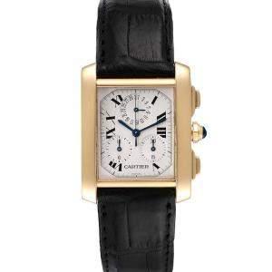 Cartier White 18K Yellow Gold Tank Francaise Chronoflex W5000556 Men's Wristwatch 36 x 28 MM