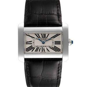 Cartier Silver Stainless Steel Tank Divan XL W6300755 Men's Wristwatch 38 x 30 MM