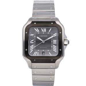 Cartier Grey Stainless Steel Santos De Cartier WSSA0037 Men's Wristwatch 39 MM