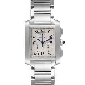 Cartier Silver Stainless Steel Tank Francaise Chrongraph W51024Q3 Men's Wristwatch 37 x 28 MM