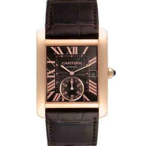 Cartier Brown 18K Rose Gold Tank MC W5330002 Men's Wristwatch 34 x 44 MM