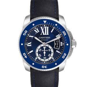 Cartier Blue Stainless Steel Calibre Diver WSCA0011 Men's Wristwatch 42 MM