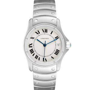 Cartier Silver Stainless Steel Santos Ronde Automatic 1920 Men's Wristwatch 33 MM