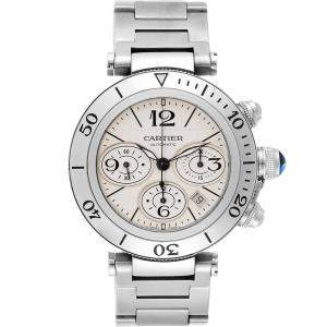Cartier Silver Stainless Steel Pasha Seatimer Chrono W31089M7 Men's Wristwatch 42.5 MM
