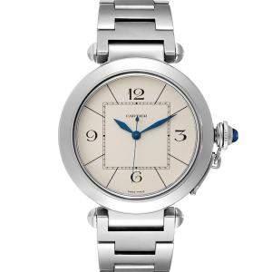 Cartier Silver Stainless Steel Pasha W31072M7 Men's Wristwatch 42 MM