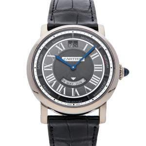 Cartier Black 18K White Gold Rotonde De Cartier Annual Calendar WHRO0003 Men's Wristwatch 40 MM