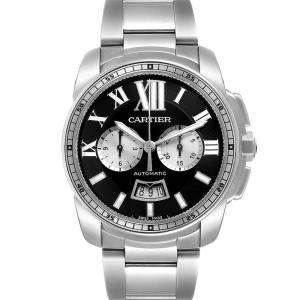 Cartier Black Stainless Steel Calibre Chronograph W7100061 Men's Wristwatch 42 MM