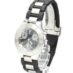 Cartier Black Stainless Steel Must 21 Chronoscaph W10125U2 Men's Wristwatch 38 MM