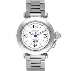 Cartier White Stainless Steel Pasha C W31044M7 Men's Wristwatch 35 MM