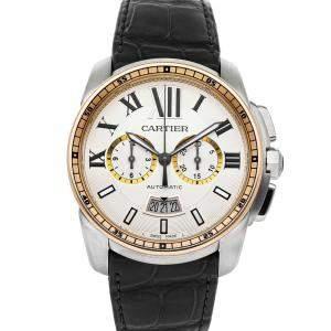Cartier Silver 18K Rose Gold And Stainless Steel Calibre De Cartier Chronograph W7100043 Men's Wristwatch 42 MM