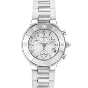 Cartier White Stainless Steel Must 21 Chronoscaph W10184U2 Men's Wristwatch 38 MM