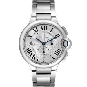 Cartier Silver Stainless Steel Ballon Bleu Chronograph W6920076 Men's Wristwatch 44 MM
