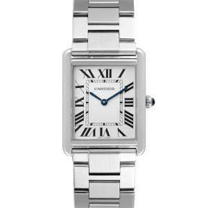 Cartier Silver Stainless Steel Tank Solo W5200014 Quartz Men's Wristwatch 27 MM