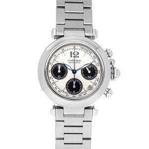 Cartier Silver Stainless Steel Pasha C W31048M7 Men's Wristwatch 36 MM
