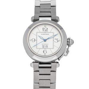 Cartier Silver Stainless Steel Pasha C W31055M7 Men's Wristwatch 35 MM