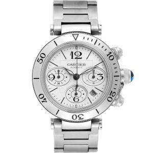 Cartier Silver Stainless Steel Pasha Seatimer Chronograph W31089M7 Men's Wristwatch 42.5 MM
