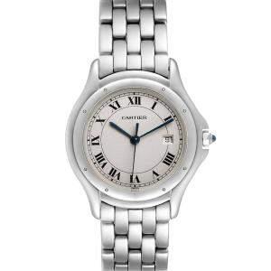 Cartier Silver Stainless Steel Cougar Quartz Men's Wristwatch 32 MM