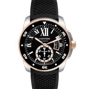 Cartier Black 18K Rose Gold And Stainless Steel Calibre Diver W7100055 Men's Wristwatch 42 MM
