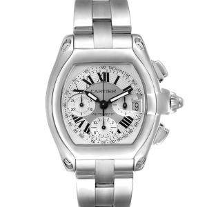 Cartier Silver Stainless Steel Roadster Chronograph W62006X6 Men's Wristwatch 49 x 43 MM