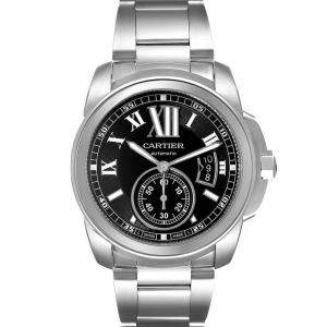 Cartier Black Stainless Steel Calibre De Cartier W7100016 Men's Wristwatch 42 MM