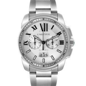 Cartier Silver Stainless Steel Calibre Chronograph W7100045 Men's Wristwatch 42 MM
