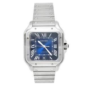 Cartier Blue Stainless Steel Santos de Cartier WSSA0030 Men's Wristwatch 39.80 mm