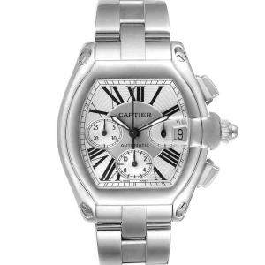Cartier Silver Stainless Steel Roadster XL Chronograph Automatic W62019X6 Men's Wristwatch 41 MM