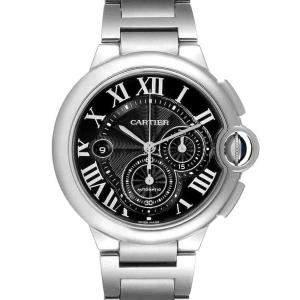 Cartier Black Stainless Steel Ballon Bleu XL Chronograph W6920077 Men's Wristwatch 44 MM