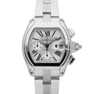 Cartier Silver Stainless Steel Roadster XL Chronograph W62019X6 Men's Wristwatch 49 x 43 MM
