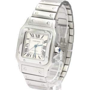 Cartier Silver Stainless Steel Santos Galbee Automatic W20098D6 Men's Wristwatch 32 MM