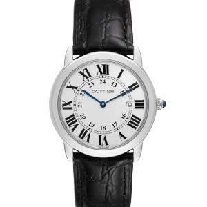Cartier Silver Stainless Steel Ronde Solo W6700255 Men's Wristwatch 36 MM