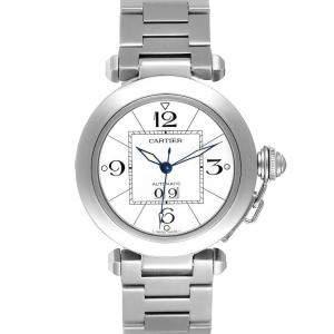 Cartier White Stainless Steel Pasha C de Cartier W31055M7 Automatic Men's Wristwatch 35 MM